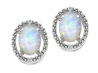 Tommaso Design Oval 8x6mm Genuine Opal Earrings