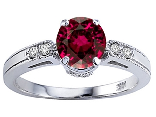 Tommaso Design Zoe R Genuine Blazing Ruby Red Topaz and Diamond Engagement Ring