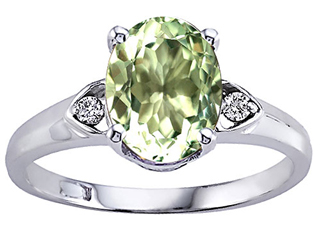 Tommaso Design Oval 9x7mm Green Amethyst Engagement Ring