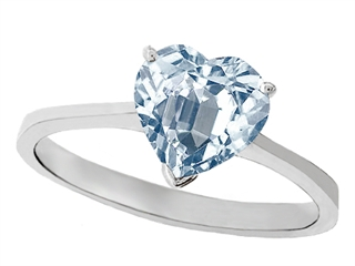 Tommaso Design Genuine Aquamarine Heart Shape 8mm Solitaire Engagement Ring