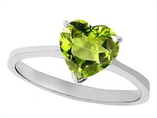 Tommaso Design Genuine Peridot Heart Shape 8mm Solitaire Engagement Ring