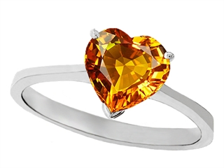 Tommaso Design Genuine Citrine Heart Shape 8mm Solitaire Engagement Ring
