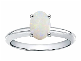 Tommaso Design Oval 8x6mm Genuine Opal Solitaire Engagement Ring