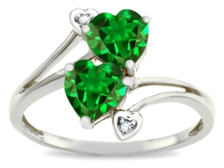 10k Gold Lab Created Heart Shape Emerald and Diamond Ring