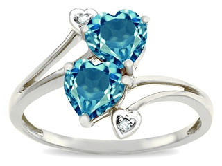 10k Gold Genuine Heart Shape Blue Topaz and Diamond Ring