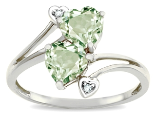 10k Gold Genuine Heart Shape Green Amethyst and Diamond Ring