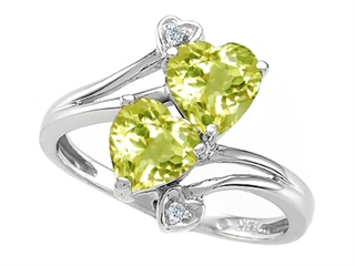 10k Gold Genuine Heart Shape Lemon Quartz and Diamond Ring