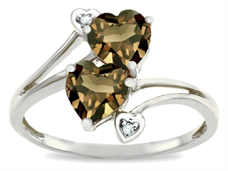 10k Gold Genuine Heart Shape Smoky Quartz and Diamond Ring