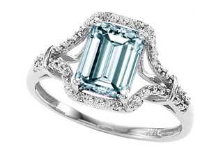 10k White Gold Genuine Emerald Cut Aquamarine and Diamond Ring