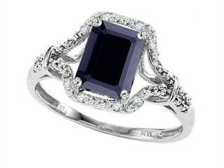 Tommaso Design 8x6mm Emerald Cut Genuine Black Sapphire and Diamond Ring