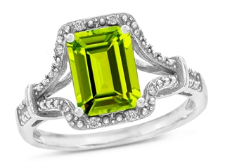 10k Gold Genuine Emerald Cut Peridot and Diamond Ring