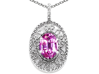 Tommaso Design Oval 9x7mm Simulated Pink Tourmaline Pendant Necklace