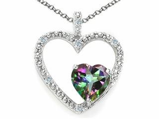 Tommaso Design Heart Shape 6mm Mystic Rainbow Topaz Pendant Necklace