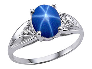 Tommaso Design(tm) Created Star Sapphire and Genuine Diamond Ring