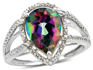 Tommaso Design Pear Shape 11x8mm Mystic Rainbow Topaz Ring