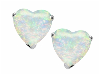 Tommaso Design 6mm Heart shape Genuine Opal Earrings Studs
