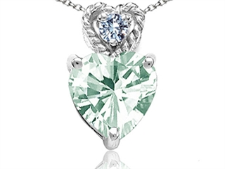 Tommaso Design 6mm Heart Shape Green Amethyst Pendant Necklace