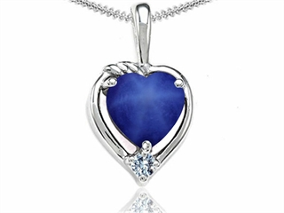Tommaso Design Heart Shape Created Star Sapphire Pendant Necklace