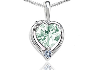 Tommaso Design Heart Shape Green Amethyst Pendant Necklace