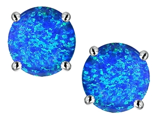 Star K Round 7mm Blue Created Opal Earrings Studs