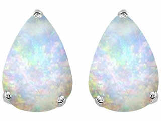 Star K Pear Shape 9x7mm Simulated Opal Earrings Studs