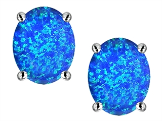 Star K Oval 8x6mm Blue Created Opal Earrings Studs