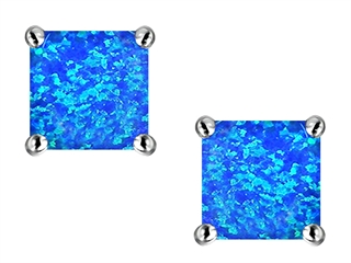 Star K Square Cut 7mm Blue Created Opal Earrings