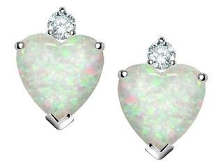 Star K 7mm Heart Shape Created Opal and Cubic Zirconia Earrings