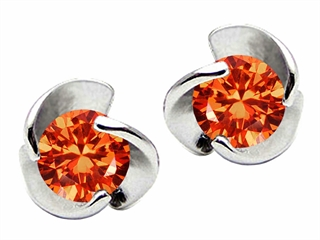 Star K Round 6mm Simulated Mexican Fire Opal Flower Earrings Studs