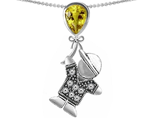 Star K Boy Holding a Balloon Mother November Birth Month Pear Shape Simulated Citrine Pendant Necklace