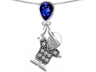 Star K Boy Holding a Balloon Mother September Birth Month Pear Shape Created Sapphire Pendant Necklace
