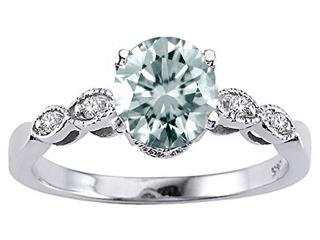 Tommaso Design Genuine Aquamarine Round 7mm s Solitaire Engagement Ring