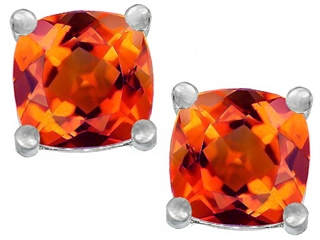 Star K Cushion Cut 7mm Simulated Mexican Fire Opal Earrings Studs