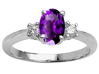 Tommaso Design 9x7 Oval Genuine Amethyst Engagement Ring
