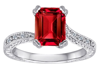 Star K Emerald Cut Created Ruby Solitaire Ring