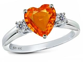 Original Star K 8mm Heart Shape Simulated Mexican Fire Opal Ring