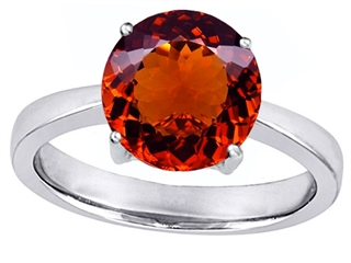 Star K Large Solitaire Big Stone Ring With 10mm Round Simulated Garnet