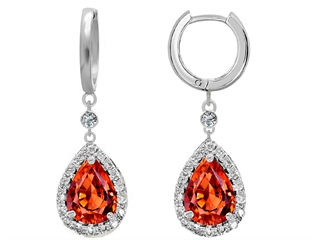 Star K Simulated Mexican Fire Opal Drop Earrings dangling on Huggie Hoop