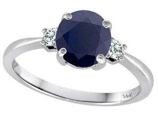 Tommaso Design 7mm Round Genuine Black Sapphire and Diamond Classic 3 stone Engagement Ring