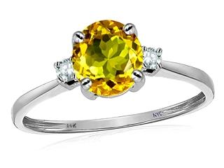 Original Star K Genuine 7mm Round Citrine Classic 3 stone Engagement Ring