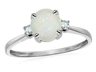 Original Star K 7mm Round Genuine Opal Classic 3 stone Engagement Ring