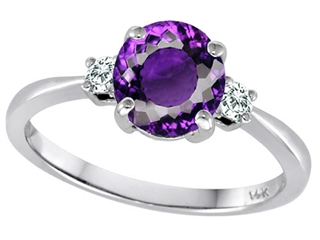 Tommaso Design 7mm Round Genuine Amethyst and Diamond Classic 3 stone Engagement Ring