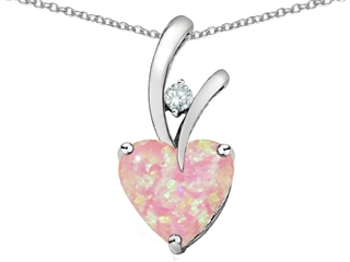 Star K 8mm Heart Shape Pink Created Opal Pendant Necklace