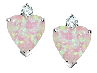 Star K Heart Shape 7mm Pink Created Opal Earrings Studs