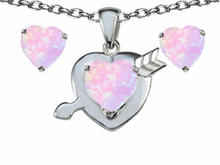 Star K Pink Created Opal 8mm Heart with Arrow Pendant Necklace with matching earrings