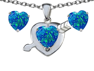 Star K Blue Created Opal 8mm Heart with Arrow Pendant Necklace with matching earrings
