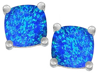 Star K Cushion Cut 7mm Blue Created Opal Earrings Studs