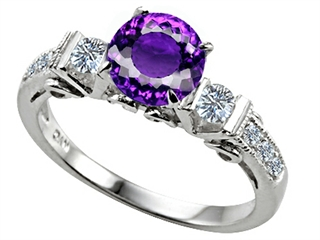 Star K Classic 3 Stone Ring With Round 7mm Genuine Amethyst