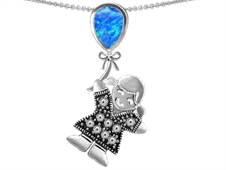 Star K Girl Holding a Balloon Mother Birth Month Pear Shape Blue Created Opal Pendant Necklace
