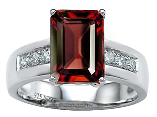 Star K Classic Octagon Emerald Cut 9x7 Ring With Simulated Garnet